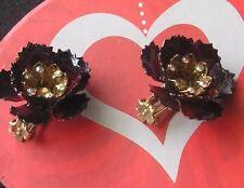 Rhinestone Crystal Gold Earring Rose Flower Red Formal Wedding Cluster Clip New