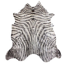 Super Size Genuine Cow Hide - Skin with Zebra Print Silver Metallic Finish