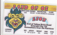 The Cowardly Lion Land of Oz novelty id card Drivers License Wizard w w denslow