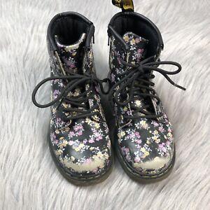 Doc Martens Black Floral Lace Up Girls Childrens Zipper Side Boots Size US 10