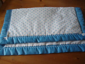 Handmade Baby Bedding-Blue/White Heart Cover/Quilt/Mat & Blue Satin Binding-Crib