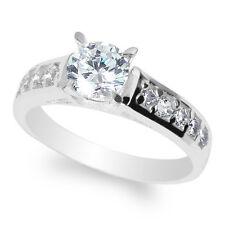 Ladies 14K  White Gold Solid Round Clear CZ 0.9ct Solitaire Size 4-10