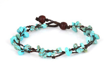 Mgd, Blue Turquoise Color Bead Anklet. Beautiful 10 Inches Handmade Stone Made