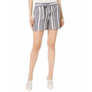 INC International Concepts Womens Shorts Blue Stripe Belt High Waist Plus 18 New