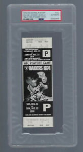VINTAGE 1974 NFL AFC DOLPHINS @ OAKLAND RAIDERS FULL TICKET SEA OF HANDS - PSA