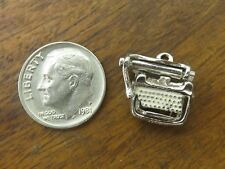 Vintage silver ANITQUE OFFICE SECRETARY WRITER MANUAL TYPEWRITER PENDANT charm