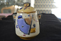 Antique Majolica Biscuit Jar Lid Fan & Scroll Pattern C 1880s Etruscan?