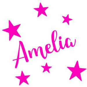 Personalised Name & Stars Wall Art, Custom Vinyl Sticker, Girls/Kids, Bedroom,