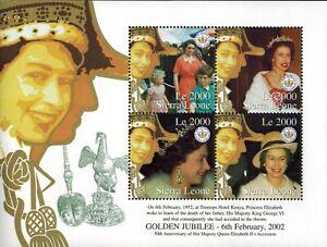 MODERN GEMS -Sierra Leone - Queen Elizabeth II Golden Jubilee - Sheet of 4 - MNH