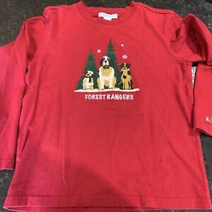 VTG Janie and Jack Boys Size 6 FOREST RANGER DOG Holiday Christmas Shirt