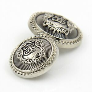 METAL SHANK BUTTONS PATTERNED ROUND SILVER- 15MM-23MM - BLOUSE BLAZER CARDIGAN