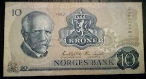 NORWAY Kingdom Norges Bank 10 Kroner 1982.