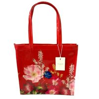Ted Baker Red Berry Floral Large Shopper Icon Bag PVC Plastic