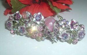 Kirks Folly Floral Lady Bugs Pink Moonstone n Rhinestone Hair Barrette Signed
