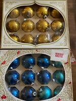 24 VINTAGE SHINY BRITE GOLD And BLUE GLASS BALL CHRISTMAS ORNAMENTS