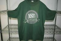 Michigan State Spartans vtg 80s Green t shirt 50/50 Usa Made Soft Large