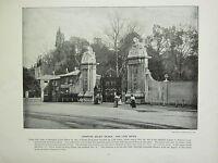 1896 Viktorianisch London Aufdruck + Text ~ Hampton Court Palast The Löwe Court
