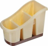 Beige Plastic 3 Compartment Sink Tidy Cutlery Drainer Caddy Organiser with Tray
