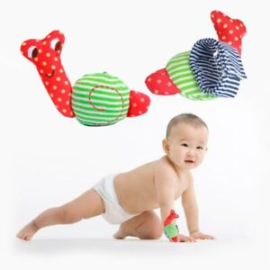 Baby Rattles Snail Wrist Strap Washable Soft Cloth Infant Hand Bells Kids Toy