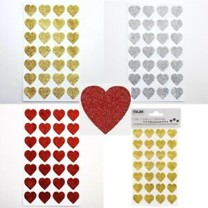 Self Adhesive LARGE Glitter Heart Sparkly Stickers 2cm - Sheet of 28 Valentine