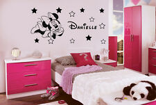 Disney Minnie Mouse Personalised Wall Art Stickers Name 12 Stars Size140x70cm R