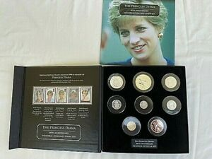 1961 -1997 Princess Diana 13 x Coin and Stamp Collection 20th Anniversary Crown