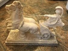 A. Santini Roman Chariot Horse Sculpture 5.5 x 14.5 Statue Classic Figure Italy