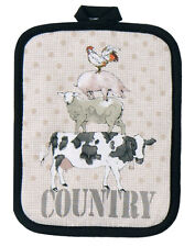 Farm Potholder | Cotton | Chicken Pig Sheep Cow Country  | Tan Black | Pictorial