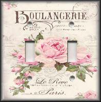 Metal Light Switch Plate Cover Shabby Chic Home Decor Rose Vintage Paris Decor
