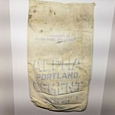 Vtg Alpha Portland Cement Co Concrete Cloth Bag Sack Martins Creek Pa Ironton Oh