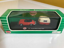 Porsche 356b With Camp Trailer Red Die Cast Metal 1 87 HO Scale Diorama Scenics