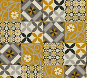 Moroccan Tile Effect Wallpaper Mustard/Grey/Black
