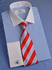 L 43 Blue Formal Business Dress Shirt White Contrast French Double Cuff Large GQ