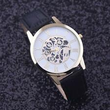 Luxury Imitation Mechanical Automatic Skeleton Mens Sport Leather Wrist Watch