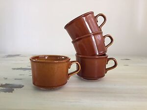 BROWN COFFEE MUGS - Vtg 70s-80s Set of 4, Made In USA, Rural, Rustic