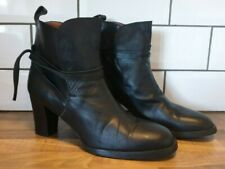 Red or Dead black leather ankle boots size 8 heeled wrap around strap Brand new
