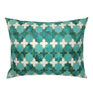 Geometrics Moroccan Traditional Spanish Til Gold Teal Pillow Sham by Roostery