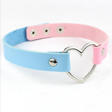 1 Pcs Lake Blue Pink Leather Choker With Heart Ring Choker Collar Necklace