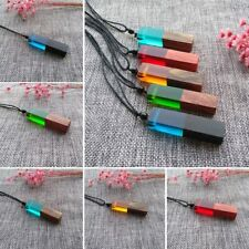 Random New Handmade Resin Wood Pendant Necklace Wooden Jewelry For Men Women