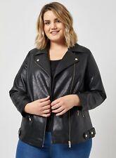 Dorothy Perkins Womens Curve Black PU Biker Jacket Long Sleeve Top Outerwear