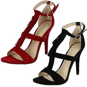Anne Michelle 'F10471' Black Or Red High Heel Strappy Fringed Evening Sandals