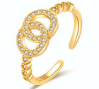 Gold Crystal Round Adjustable Ring 925 Sterling Silver Womens Jewellery Gift Uk