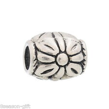 30 Silver Tone Flower Spacers Beads Fit Charm Bracelet