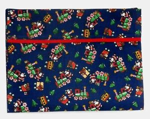 Toddler Pillowcase for Christmas Trains on Blue 100%Cotton #CH2 New Handmade