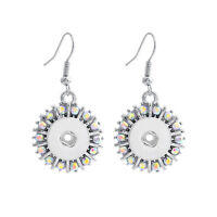 NEW 12MM silver color Drill Earrings Fit For Noosa Charm Snap Button N25