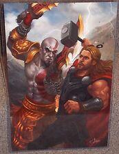 Avengers Thor vs God Of War Kratos Glossy Art Print 11x17 In Hard Plastic Sleeve