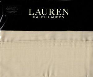 Ralph Lauren Queen Sheet Set Dunham Sateen 4pc French Cottage Oat Beige 300TC