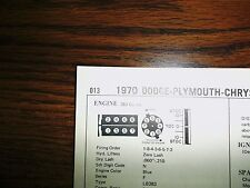 1970 Dodge Plymouth Chrysler 383 CI V8 4BBL SUN Tune Up Chart Great Condition!