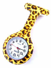 Nurse Silicone Tunic Watch Brooch Fob in Leopard Print and Extra Battery