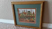 "Charles Wysocki Framed Matted "" The Haberdashery Town Village "" Print"